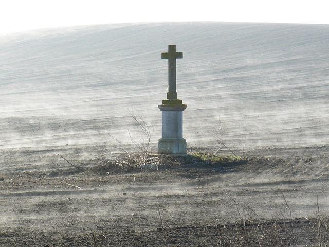 Cross, Calvary, Field, Fog