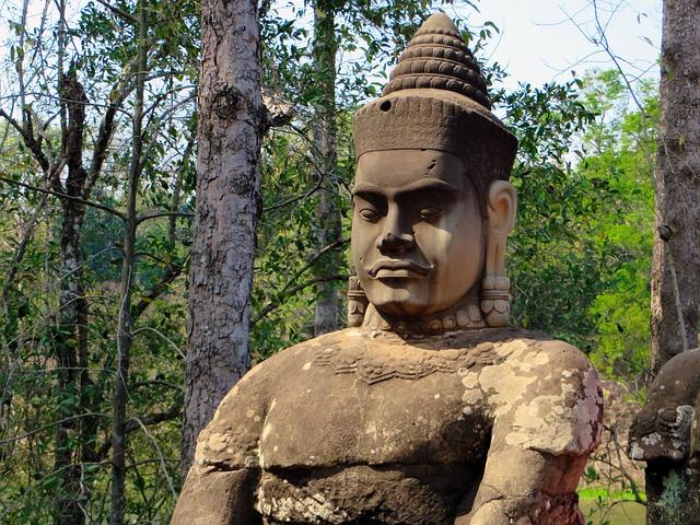 Cambodia, Angkor, Statue, Guardian, Angkor Thom, Temple