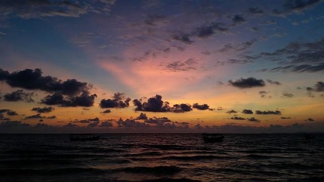 Cambodia, Asia, Sihanoukville, Sea, Beach, Clouds, Ship