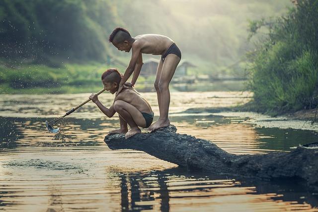 Asia, Boys, Cambodia, Children, Fish, Fisherman