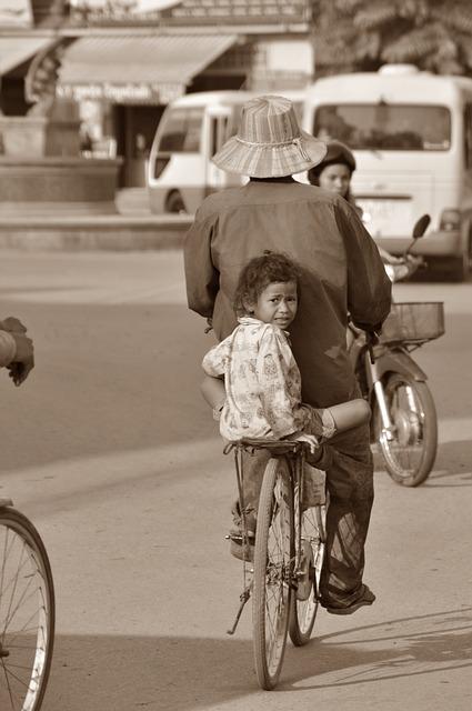 Cambodia, Girl, Child, Bike