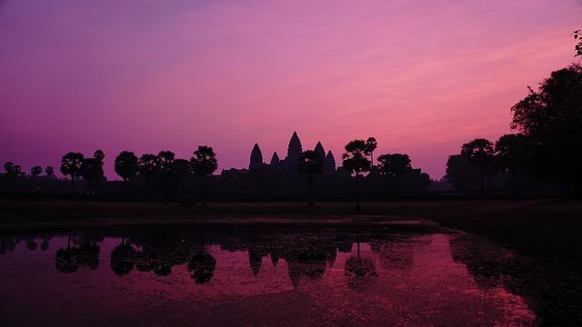Cambodia, Angkor Wat, Sunrise, Asaka, Purple, Sky