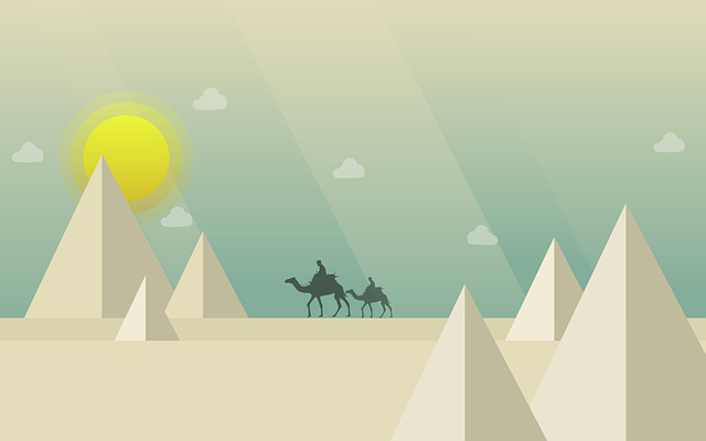 Camel, Desert, Pyramid, Sun, Clouds, Animal, Tourism