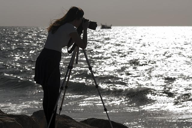 Sea, Shore, Girl, Photographer, Camera, Dslr, Tripod