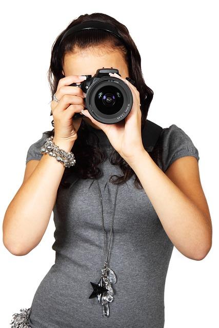 Camera, Digital, Equipment, Female, Girl, Isolated