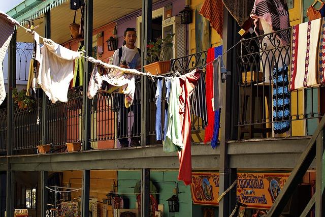 Clothes Line, Caminito, House, Facade, Colorful