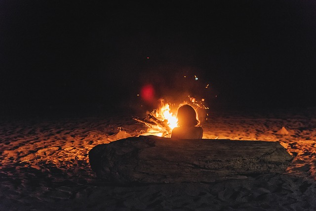 Camping, Camp Fire, Fire, Woman, Campfire