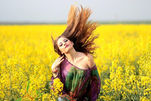Girl, Camp, Flowers, Yellow, Beauty, Nature