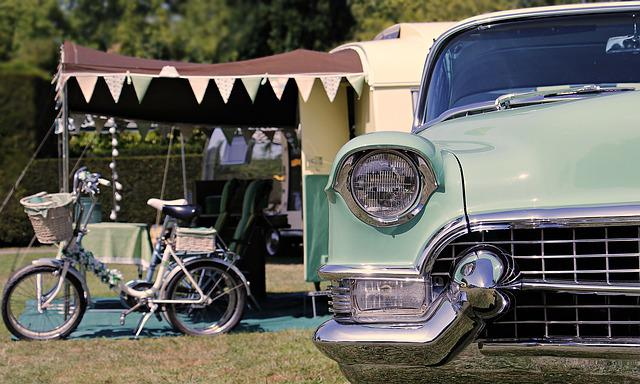 Camping, Cadillac, 1960, Vacations, Retro, Vintage