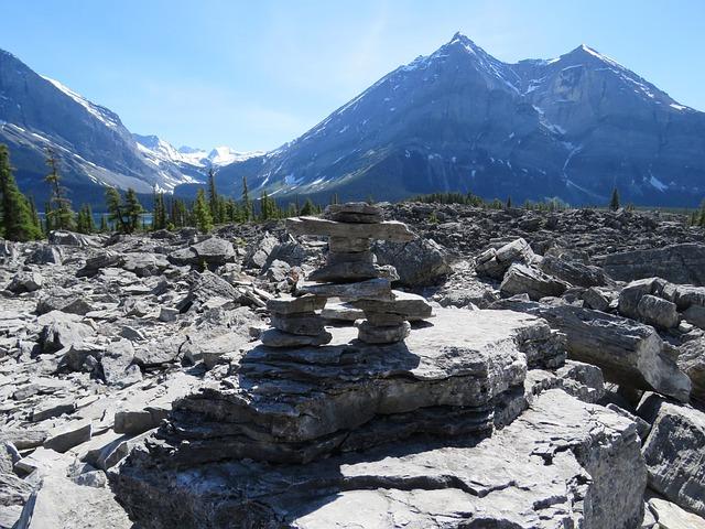 Inukshuk, Inuit, Rocky Mountains, Alberta, Canada