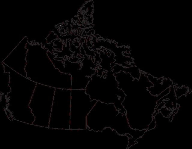 Map, Canada, Provinces, Territories, Alberta