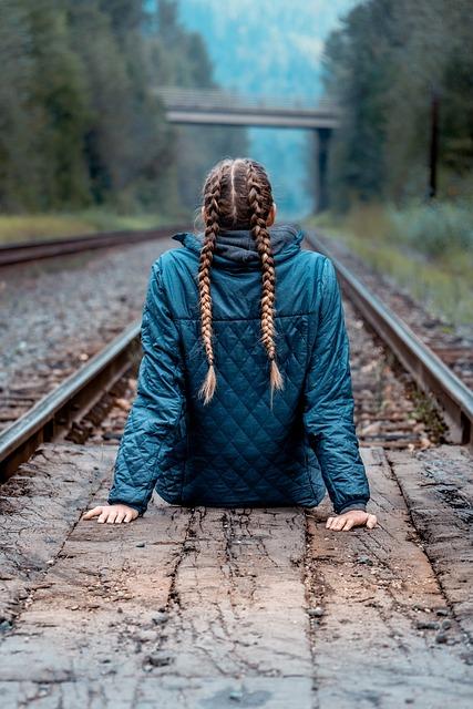 Braids, Girl, Woman, Gleise, Rails, Outlook, Canada