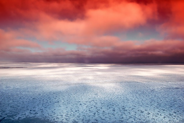 Hudson Bay, Canada, Sea, Ocean, Ice, Reflections, Sky