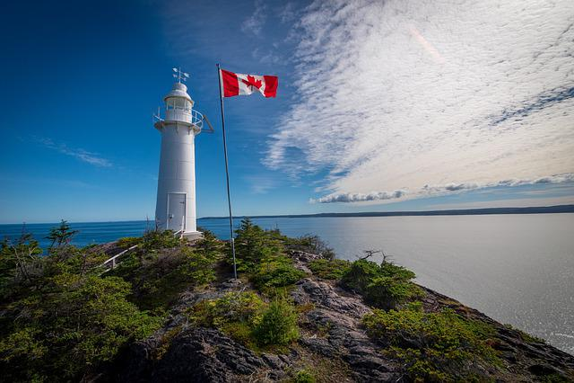Lighthouse, Flag, Canada, Newfoundland, Vacations
