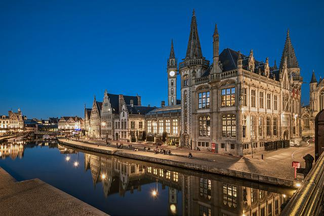 Gent, Mirroring, Water Basin, Belgium, Channel, Canal