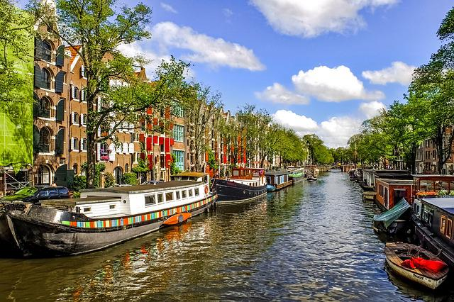 Canal, Waterway, Barge, Home Boat, Urban, City