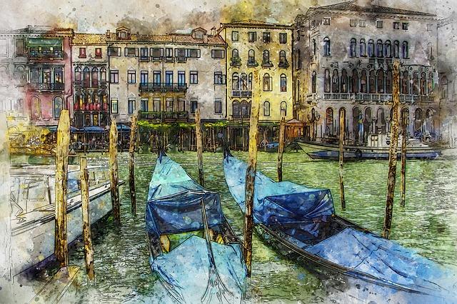 Venice, Venetian, Evening, Gondola, Canal, Italy