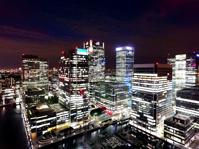 London, Docklands, Night, Canary Wharf, City, Uk