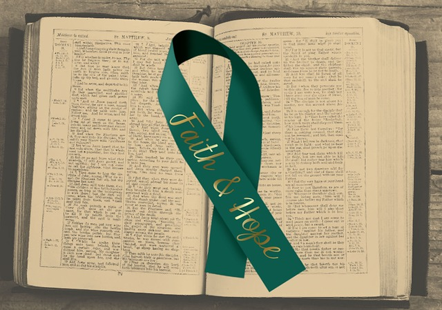 Cancer Ribbon, Bible, Faith, Hope