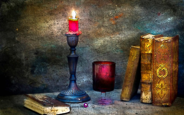 Candle Light, Candle, Light, Lit, Book, Old, Vintage