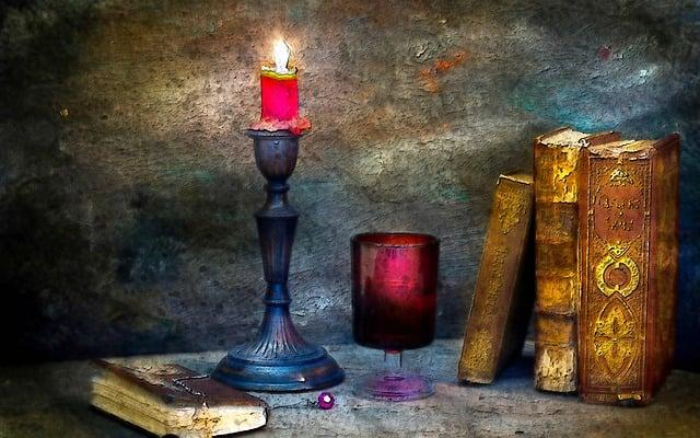 Candle Light, Candle, Light, Lit, Book, Old, Vintage