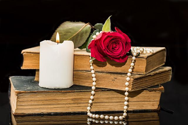 Old Books, Rose, Red Rose, Candle, Pearl Necklace
