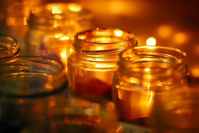 Golden, Light, Glass, Candles, Bill