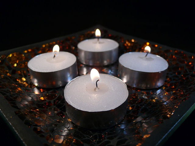 Candles, White, Flames, Glowing, Glows, Bright, Four