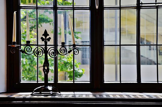 Window, Candles, Candlestick, Candle Holders
