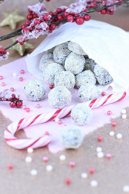 Christmas, Advent, Candy, Chocolate Balls, Candy Cane
