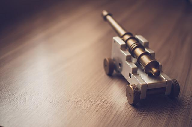 Wood, Metal, Table, Cannon, Silver, Toy, Gold, Gadget