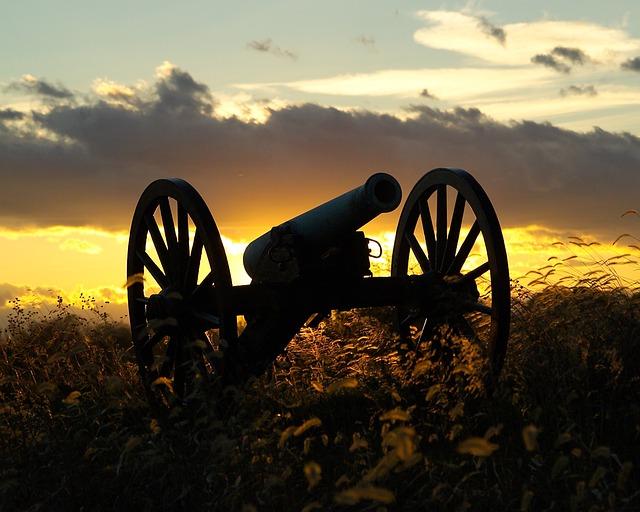 Antietam, Maryland, Sunset, Sky, Clouds, Cannon