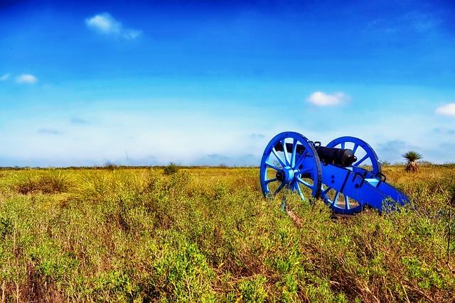 Palo Alto Battlefield, Texas, Field, Cannon, Sky