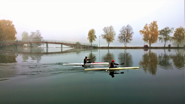 Canoes, Water, Mist, Autumn, Trollhättan, Gota Canal