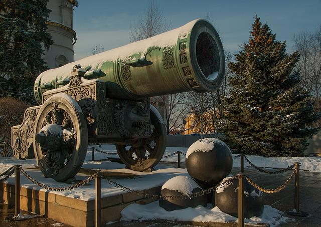 Moscow, Kremlin, Canon, Cannonballs, Tsar Cannon