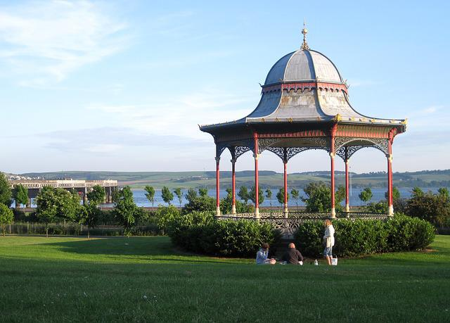 Bandstand, Canopy, Park, People, Sky, Bridge, Grass
