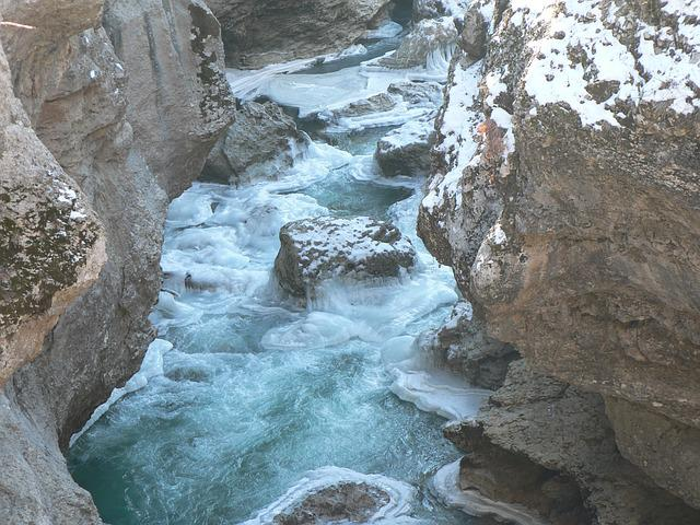 Canyon, River, Winter, Ice, Mountains