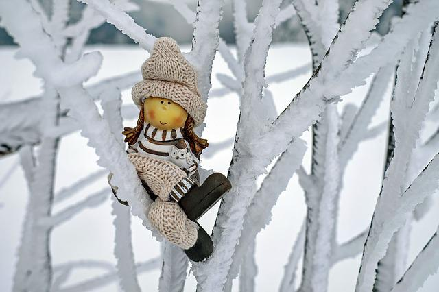 Girl, Fig, Cap, Winter, Snow, Cold, Sitting, Tree, Road