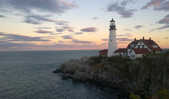 Cape Elizabeth, Maine, Usa, Lighthouse, Sea, Water
