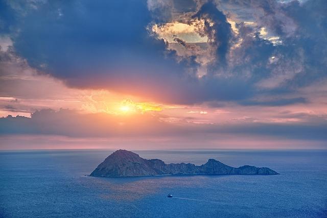 Dawn, Rock, Island, Cape, Sea