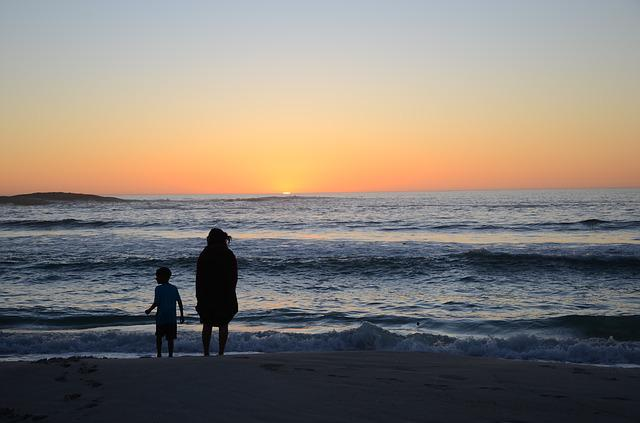 Camps Bay, Cape Town, Sunset, Beach, Family, Mother