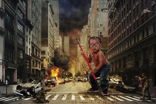 Ninja, Child, City, Destruction, Car Accident, New York