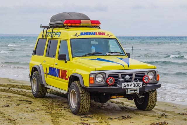 Ambulance, Beach, Emergency, Rescue, Car, Suv, Security
