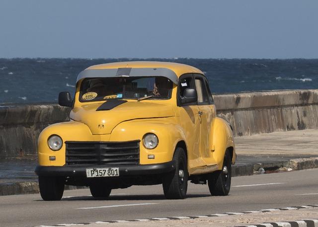 Cuba, Havana, Almendron, Malecon, Car, Classic, Yellow