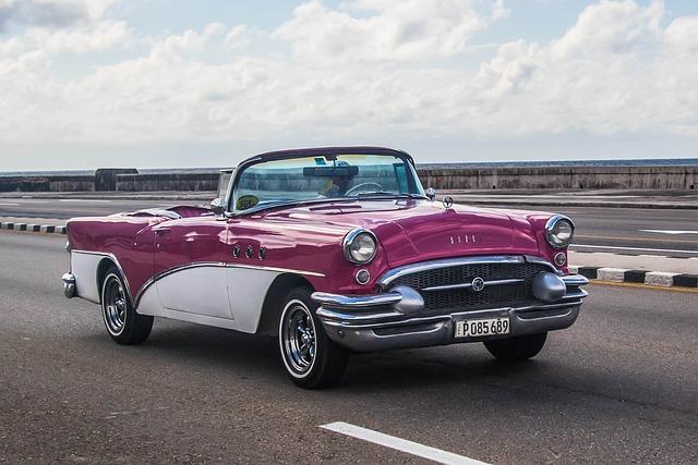Cuba, Havana, Car, Classic, Almendron, Malecon, Coral