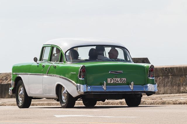 Cuba, Havana, Car, Classic, Almendron, Malecon
