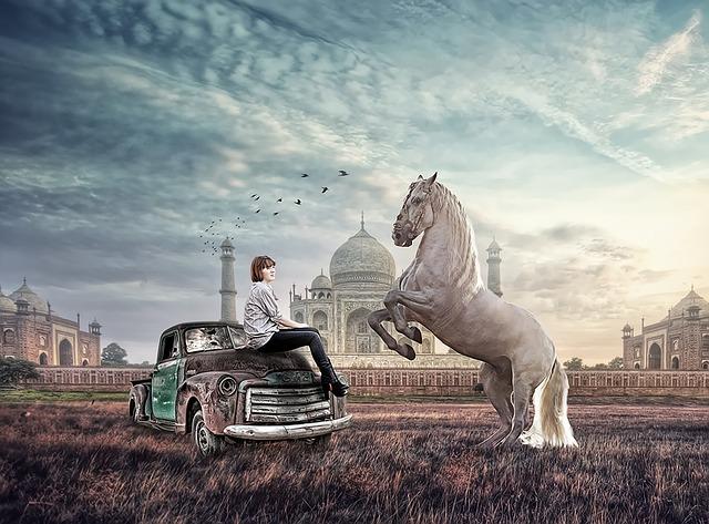 Horse, Imaginary, Girl, Taj Mahl, Jungle, Car, Picture