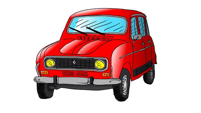 Renault, R4, Auto, Car, Drawing, Illustration