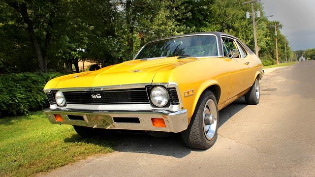 Nova, Muscle, Car, Grass, Vehicle, Drive, Road, Classic