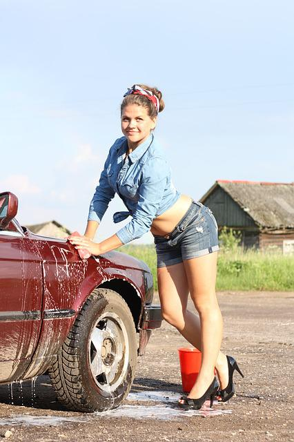 Girl, Car, Pin Up, Village, Machine, Summer, Russia